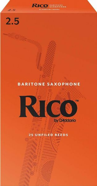 Rico 2.5 Strength Reeds for Baritone Sax (Pack of 25) - RLA2525